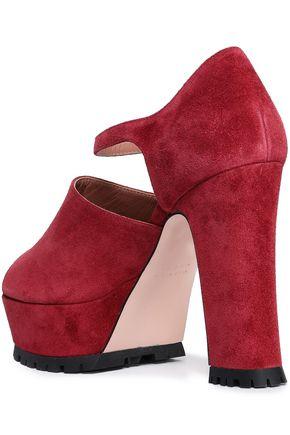 RED(V) Suede platform sandals