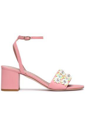 RED(V) Floral-appliquéd leather sandals