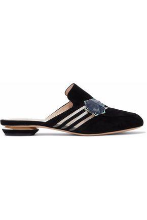 NICHOLAS KIRKWOOD Camille mesh-trimmed appliquéd suede slippers