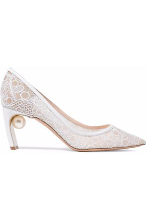 NICHOLAS KIRKWOOD Mira embellished lace and leather pumps