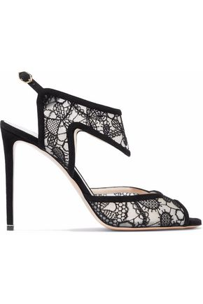 NICHOLAS KIRKWOOD Leda suede-trimmed embroidered mesh sandals