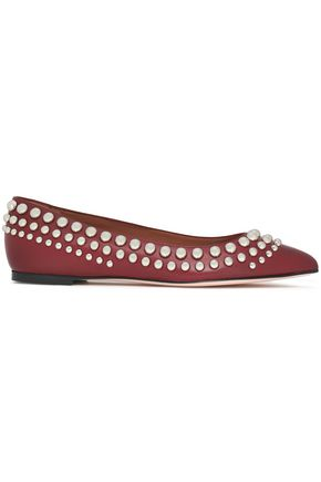 RED(V) Studded leather point-toe flats