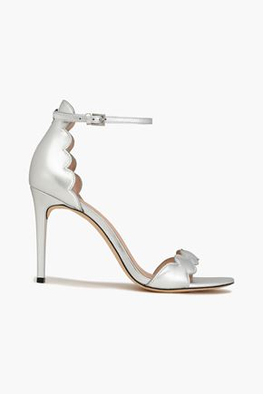 RACHEL ZOE Ava scalloped metallic leather sandals