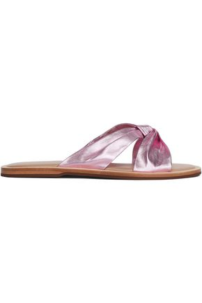 RACHEL ZOE Hampton twisted metallic leather slides