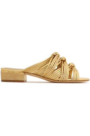 RACHEL ZOE Wren knotted metallic leather sandals