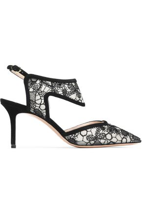 NICHOLAS KIRKWOOD Suede-trimmed embroidered mesh pumps