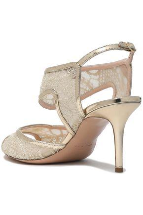 060fe3b25d5 ... NICHOLAS KIRKWOOD Metallic leather-trimmed embroidered mesh sandals