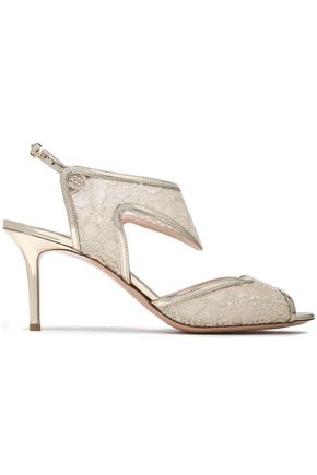 NICHOLAS KIRKWOOD Metallic leather-trimmed embroidered mesh sandals