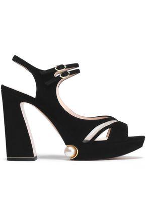 NICHOLAS KIRKWOOD Estella mesh-trimmed embellished suede platform sandals