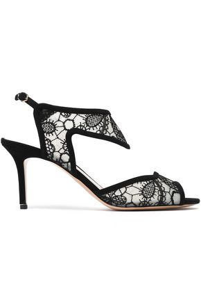 1d1848ae40a NICHOLAS KIRKWOOD Suede-trimmed embroidered mesh sandals ...