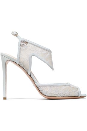 NICHOLAS KIRKWOOD Leather-trimmed embroidered mesh sandals