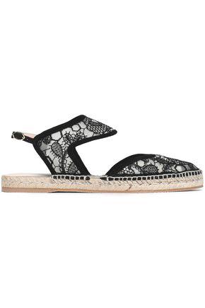 NICHOLAS KIRKWOOD Leda suede-trimmed embroidered mesh espadrille sandals