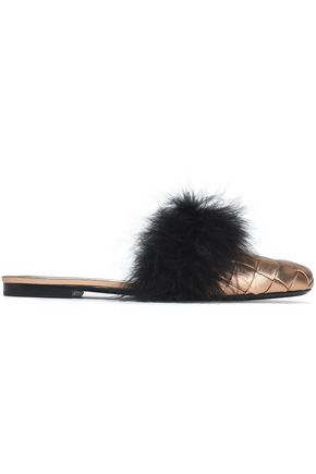 MARCO DE VINCENZO Feather-embellished woven metallic leather slippers