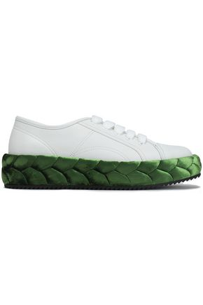 MARCO DE VINCENZO Braided velvet-trimmed leather sneakers