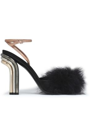 MARCO DE VINCENZO Feather-embellished leather sandals