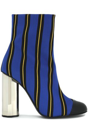 MARCO DE VINCENZO Striped coated canvas ankle boots