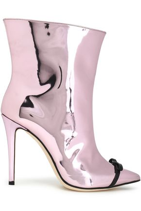 Marco De Vincenzo MARCO DE VINCENZO WOMAN BOW-EMBELLISHED MIRRORED-LEATHER ANKLE BOOTS BABY PINK