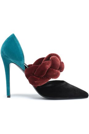 MARCO DE VINCENZO Two-tone braided velvet pumps