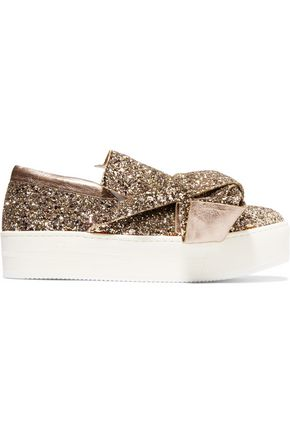 N°21 Knotted glittered leather platform slip-on sneakers