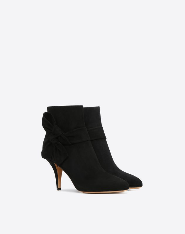 Suede Side-Bow Bootie 80mm