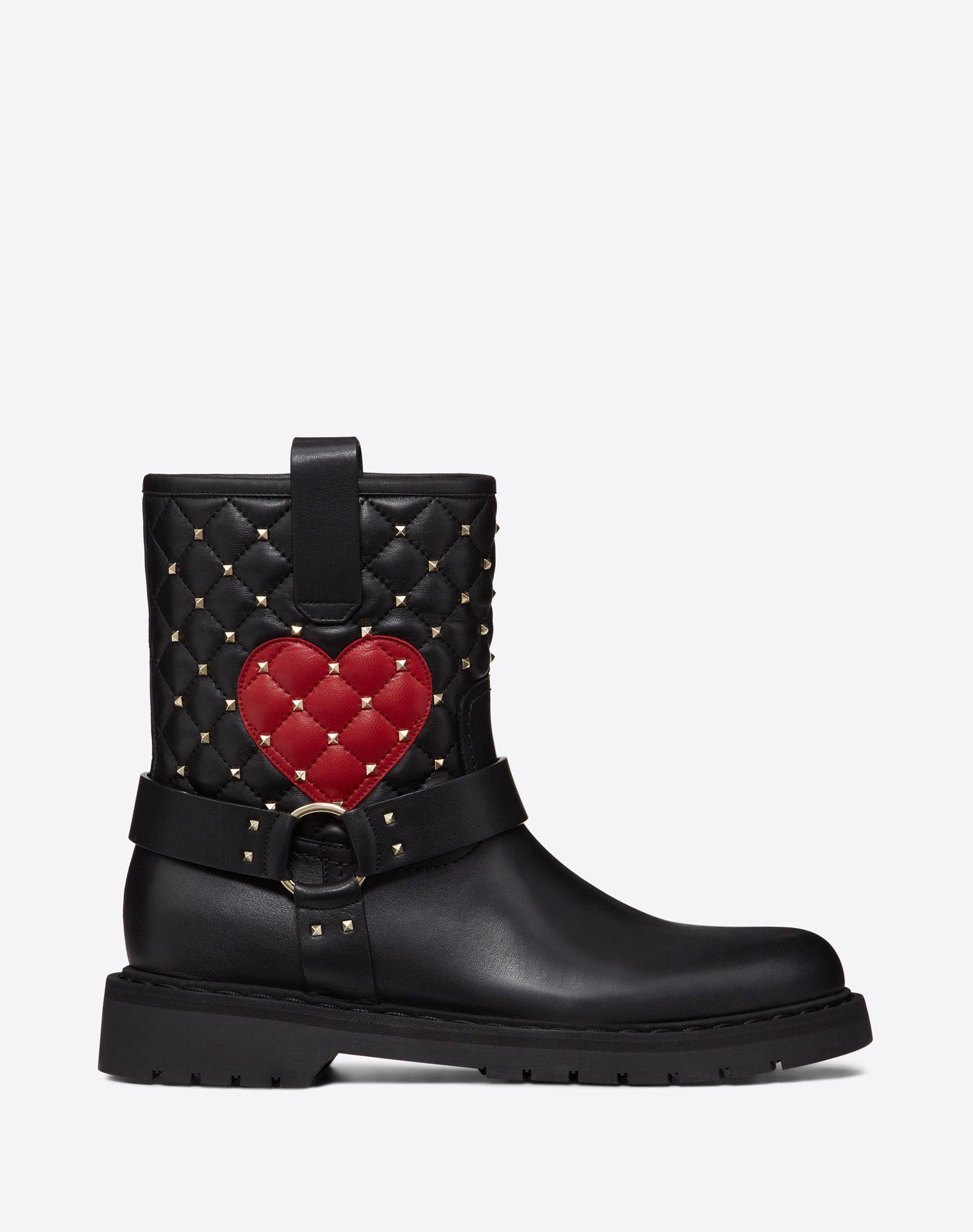 Rockstud Spike biker boot with heart embroidery