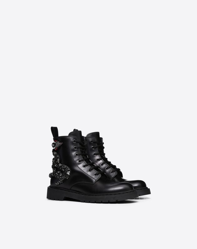 Snake Embroidered Combat Boot