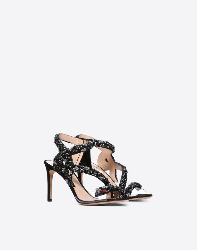 Snake embroidered Suede Sandal 105mm