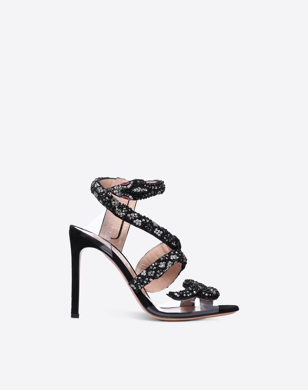 Sandales avec broderie serpent