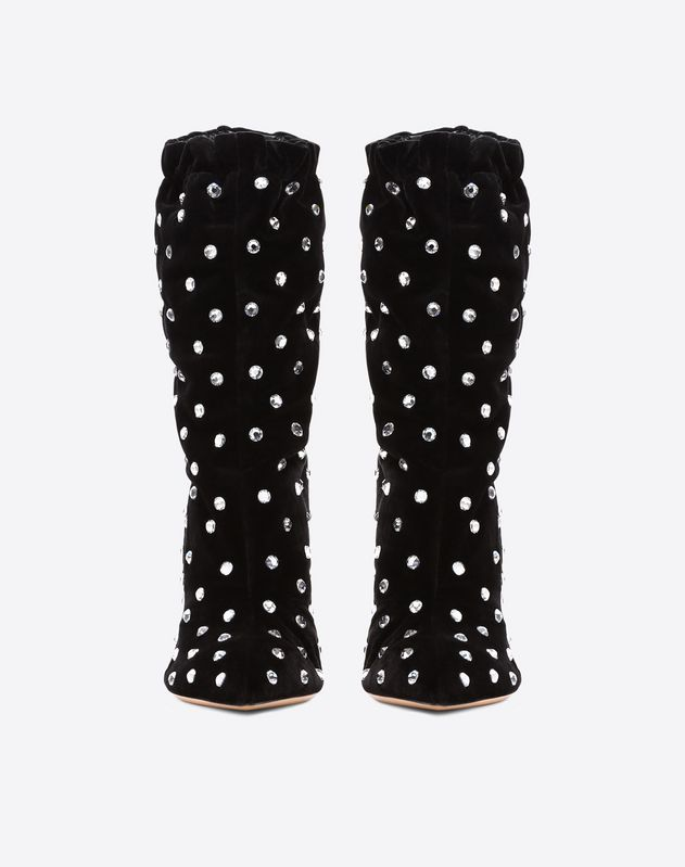 Suede Crystal Studded Bootie 105mm
