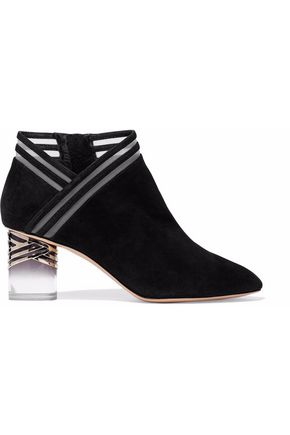 Mesh Trimmed Suede Ankle Boots by Nicholas Kirkwood