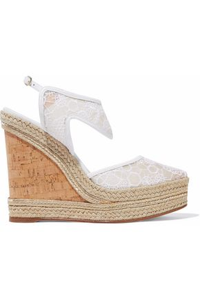NICHOLAS KIRKWOOD Leda leather-trimmed embroidered mesh wedge espadrilles