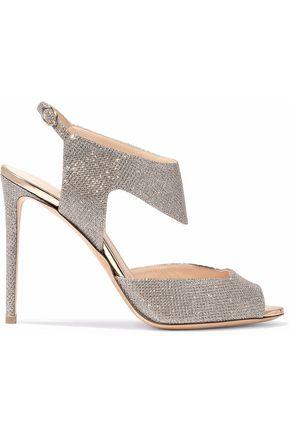 NICHOLAS KIRKWOOD Leda glittered Lurex slingback sandals