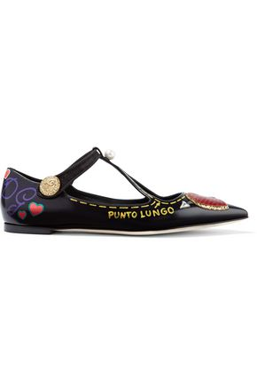 DOLCE & GABBANA Embellished glossed-leather point-toe flats