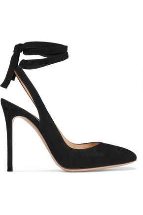 GIANVITO ROSSI Lace-up suede slingback pumps