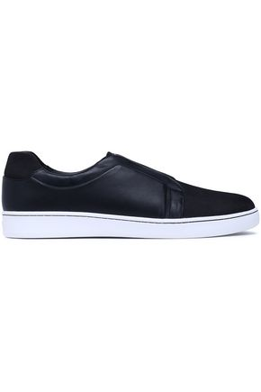 DKNY Leather and mesh slip-on sneakers