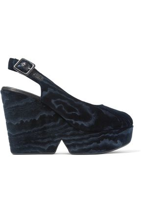 ROBERT CLERGERIE Dylantin devoré-velvet platform slingback sandals