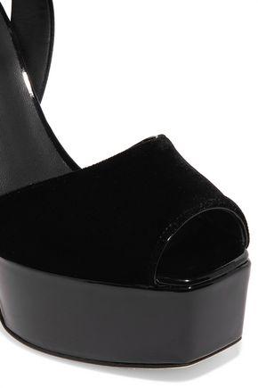 GIUSEPPE ZANOTTI Velvet, satin and patent-leather platform sandals