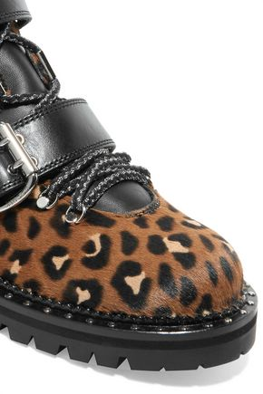 JIMMY CHOO Breeze leather-trimmed leopard-print calf hair ankle boots