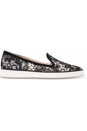 NICHOLAS KIRKWOOD Beya suede-trimmed embroidered mesh slip-on sneakers