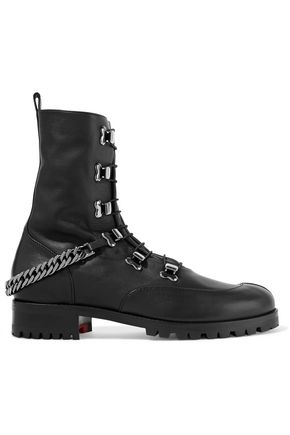 e52a97b93e25 CHRISTIAN LOUBOUTIN Chain-trimmed leather ankle boots