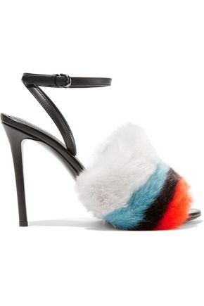 MARCO DE VINCENZO Color-block faux fur sandals