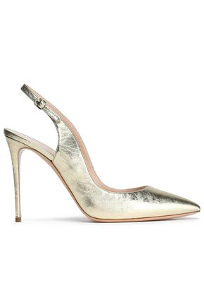 CASADEI Metallic cracked-leather slingback pumps