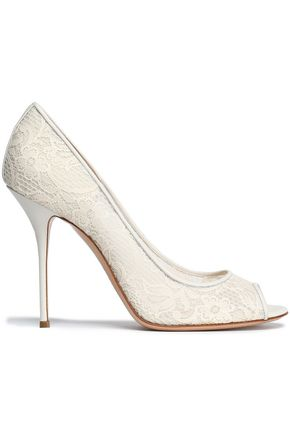 CASADEI Leather-trimmed lace pumps