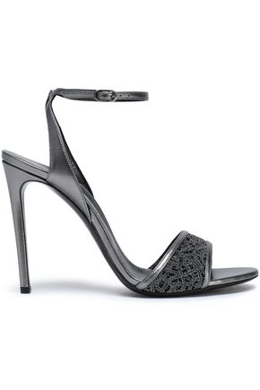 CASADEI Metallic leather and embroidered mesh sandals