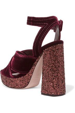MIU MIU Glitter-trimmed velvet platform sandals