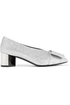 PIERRE HARDY Obi bow-embellished glittered leather pumps