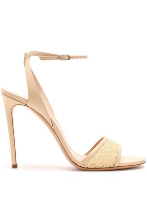 CASADEI Leather-trimmed macramé sandals