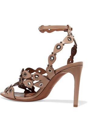 ALAÏA Embellished laser-cut leather sandals