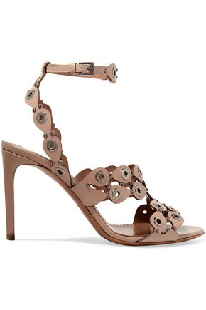 ALAÏA Embellished laser-cut leather sandals