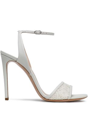 CASADEI Leather and lace sandals